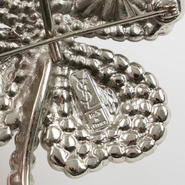 e6e872630a7 Yves Saint Laurent Yves Saint Laurent Ysl Jeweled Pin Brooch Four-Leaf  Clover Clear Rhinestones