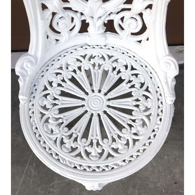 Pair of Victorian Angel Motif Wrought Iron Garden Chairs, Restored For Sale - Image 10 of 12