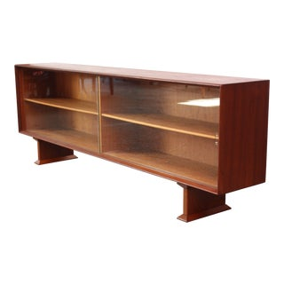 Danish Modern Low Teak and Glass Credenza For Sale