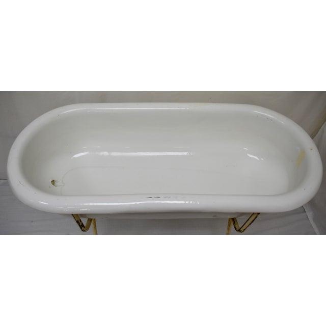 White Vintage Porcelain Enamel Baby Bath For Sale - Image 8 of 9