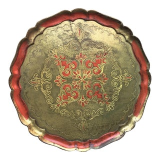 Vintage Florentine Gilt & Orange Round Tray-15""