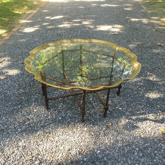 Faux Bamboo Brass Tray Table by McGuire - Image 2 of 10
