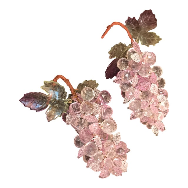 Pink & Clear Faceted Lucite Grapes - A Pair - Image 1 of 9