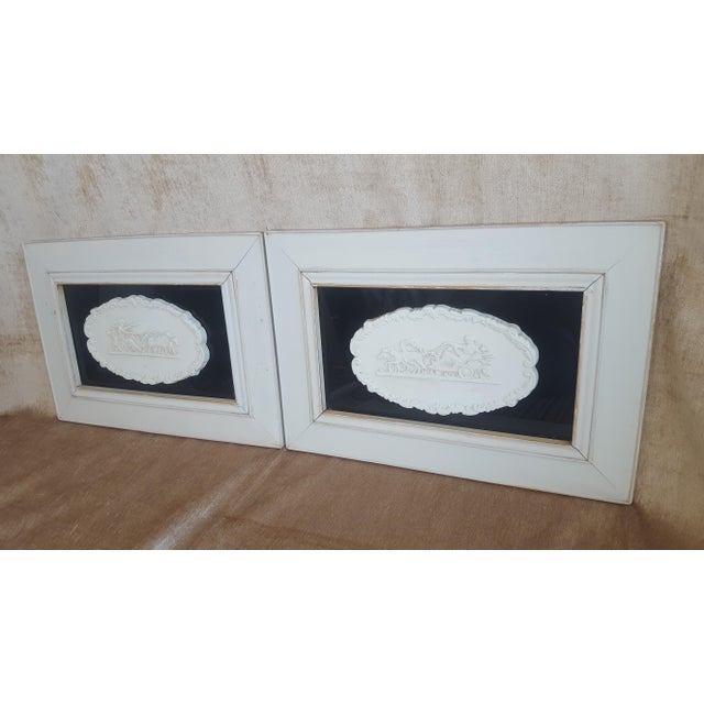 White Vintage Neoclassical Framed Intaglios - a Pair For Sale - Image 8 of 13