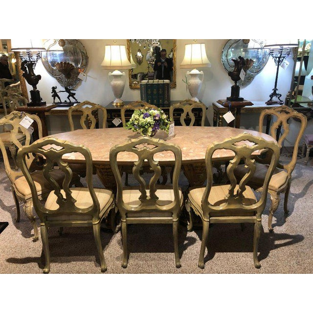 Set Of Twelve Paint Decorated Italian Rococo Dining Room Chairs For Sale In New York