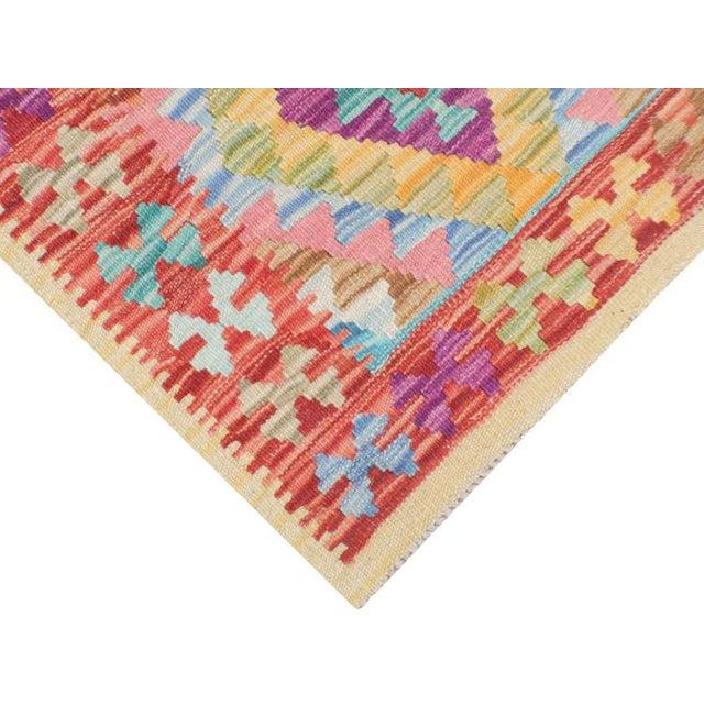 "Afghani Kilim Flatweave Wool Runner Rug Size 1'9""x6'3"" - Image 4 of 4"