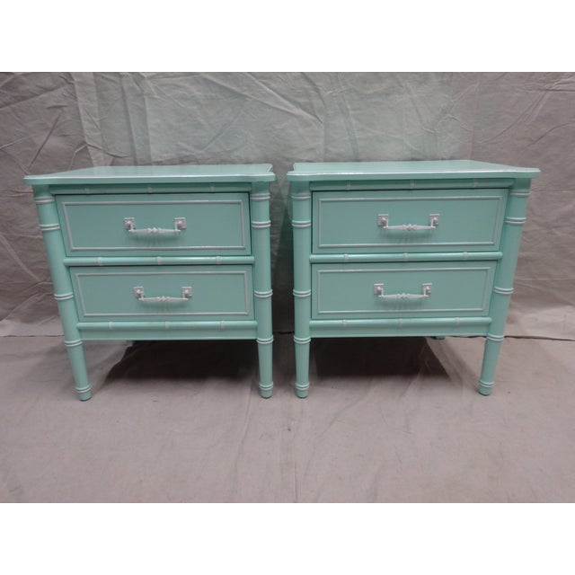 Vintage Bamboo Night Stands - Image 2 of 6