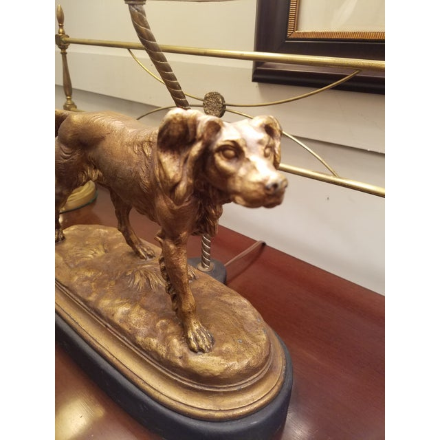 English Traditional Bronze Finished Sporting Dogs Mounted Lamps With Custom Shades - a Pair For Sale - Image 3 of 5