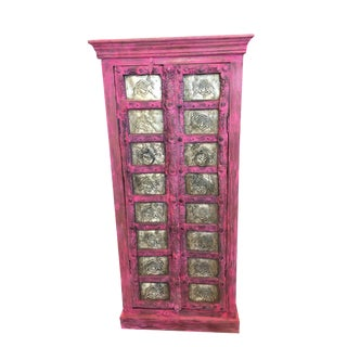 Boho Chic Brass Camels Rustic Indian Pink Wood Armoire Cabinet Chest For Sale