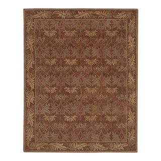 Red Arts & Crafts Hand Tufted Rug - 8′ × 10′