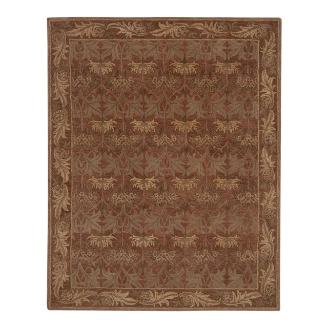 Red Arts & Crafts Hand Tufted Rug - 8′ × 10′ For Sale