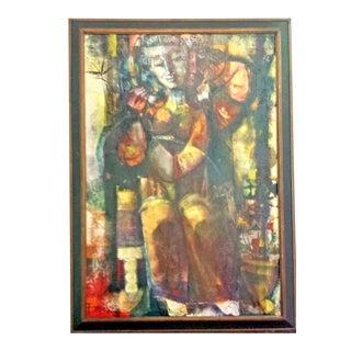 1963 Pau Lluis Fornes Isern Spanish Mid-Century Modern Oil Painting For Sale