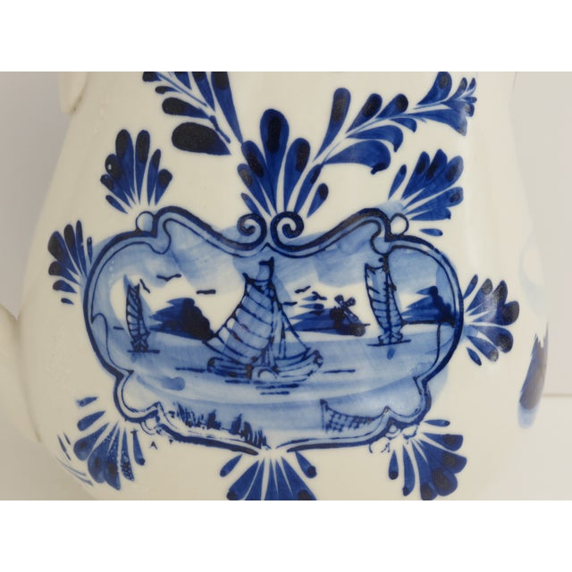 Delft Blue & White Pitcher For Sale - Image 5 of 7