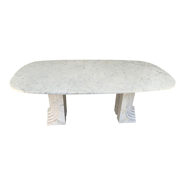 1970s Carrara Marble Dining Table For Sale