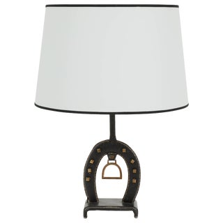 Jacques Adnet Leather Equestrian Table Lamp For Sale