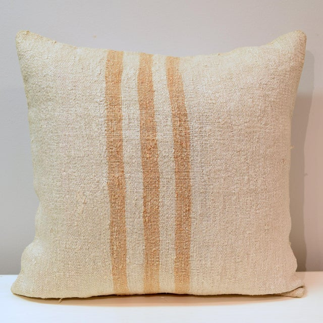 Decorative accent pillow with insert included. Pillow cover is made from 100% wool hand woven old kilim hemp on the front,...