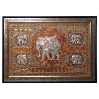 Figural Burmese Elephant Kalaga, Jeweled & Padded Needlepoint, Framed For Sale