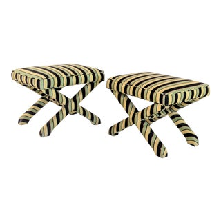 1980s Mid-Century Modern Yellow and Black Stripe Upholstered X Benches - a Pair
