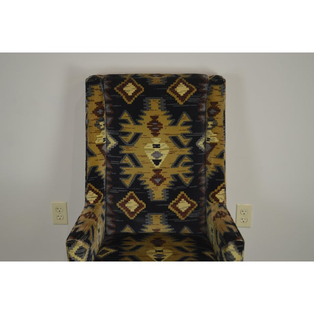 Textile Henredon Vintage Southwood Upholstered Parsons Arm Chair For Sale - Image 7 of 13