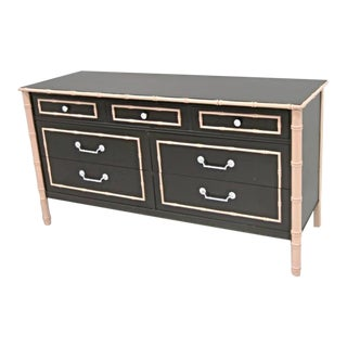 Thomasville Faux Bamboo Lacquered Mid-Century Dresser For Sale