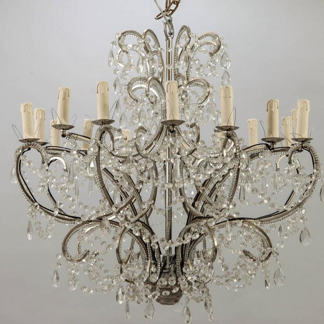 Sixteen Arm Silver Metal Highly Beaded French Chandelier For Sale - Image 9 of 9
