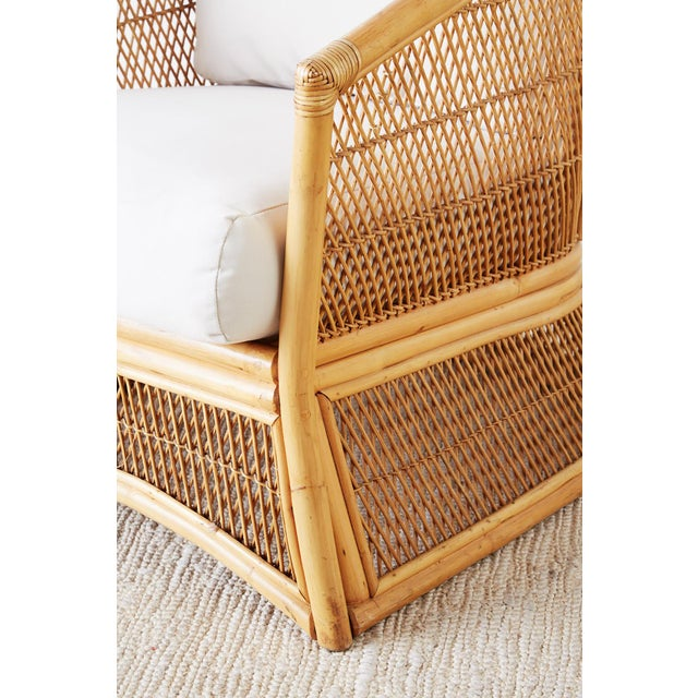 Mid 20th Century Midcentury Bamboo Rattan Wicker Lounge Chair For Sale - Image 5 of 13