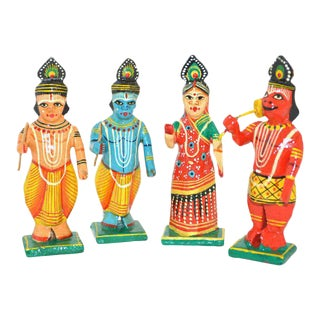 Antique Vintage Indian Ramayana Handmade Wood Figures Multicolor - Set of 4 Miniature