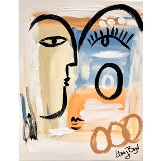 Contemporary Abstract Expressionist Face Painting by Ebony Boyd For Sale