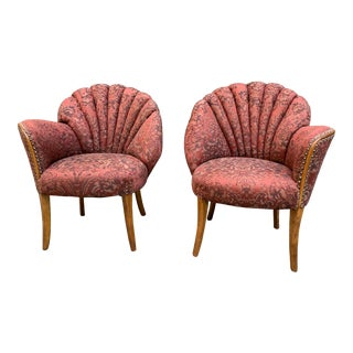 Vintage Art Deco Shell Back Boudoir Chairs - a Pair For Sale