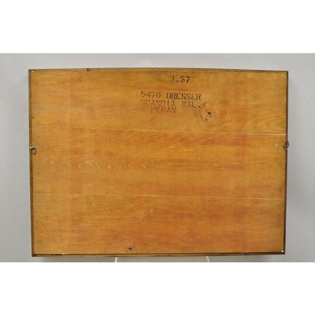 Brown Vintage Mid Century Modernist Walnut Rectangular Wall Dresser Deep Frame Mirror For Sale - Image 8 of 11