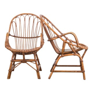 1960s French Rattan Armchairs - a Pair