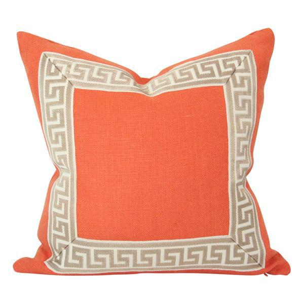 """Orange Linen Pillow Covers - a Pair 18""""sq - Image 2 of 4"""