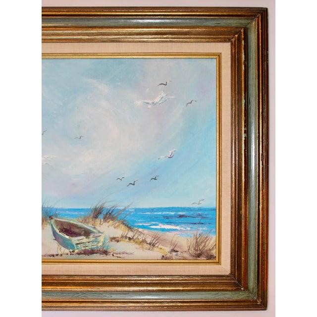 Nautical Vintage Beach Seascape Original Oil Painting For Sale - Image 3 of 13