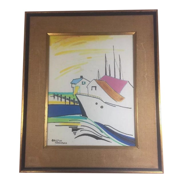 1960s Nautical Watercolor Painting by Ralston Crawford, Framed For Sale