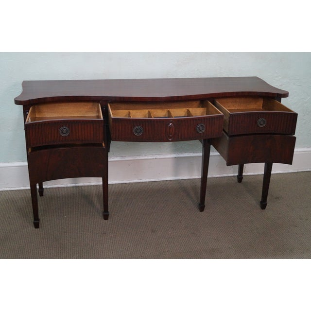 John Widdicomb vintage 1940s mahogany sideboard. High quality, mahogany sideboard with brass hardware & dovetailed...