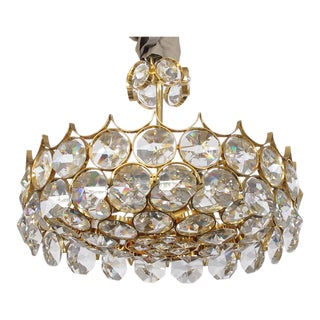 1960s Gaetano Sciolari for Palwa Gilt-Brass and Crystal 6-Light Pendant Chandelier For Sale