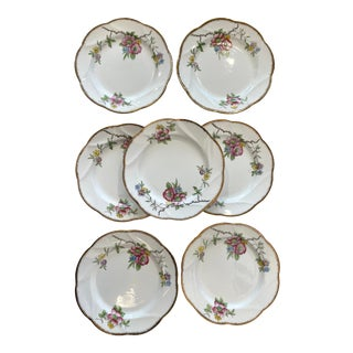 Floral English Bone China Small Plates - Set of 7 For Sale