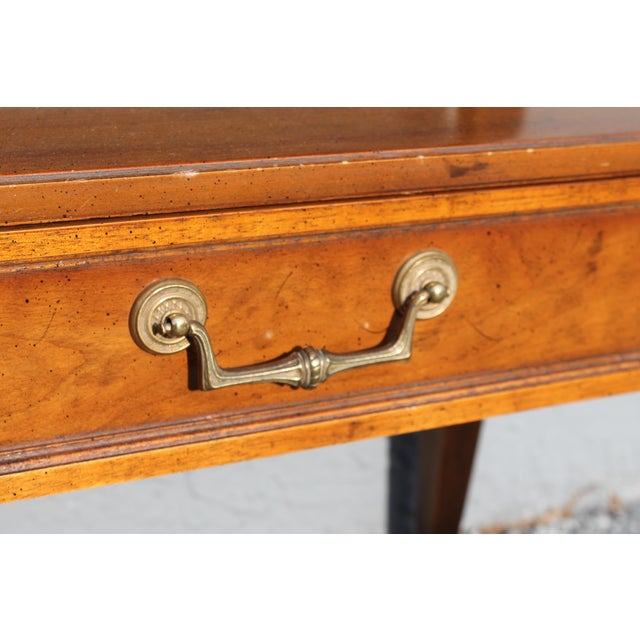 1960s Traditional Walnut 2 Drawer Hall Console Table For Sale - Image 9 of 13
