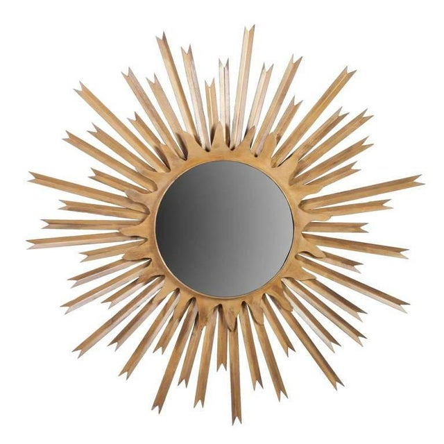 1950s Pair of Large Brass Sunburst Mirrors With Back Lighting Selling Individually For Sale - Image 5 of 6