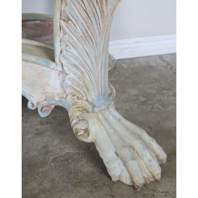 Cream Early 20th Century French Carved Painted Console Table For Sale - Image 8 of 12