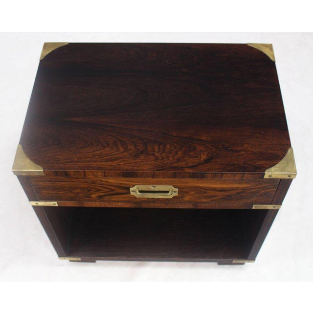 Mid 20th Century Rosewood Brass Campaign End Table Nighstand Cabinet John Stuart For Sale - Image 5 of 8