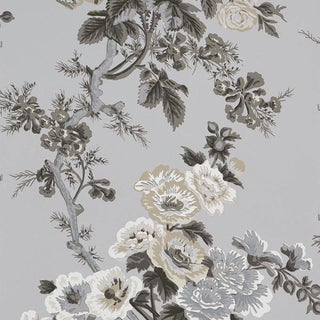 Schumacher Pyne Hollyhock Wallpaper in Grisaille For Sale