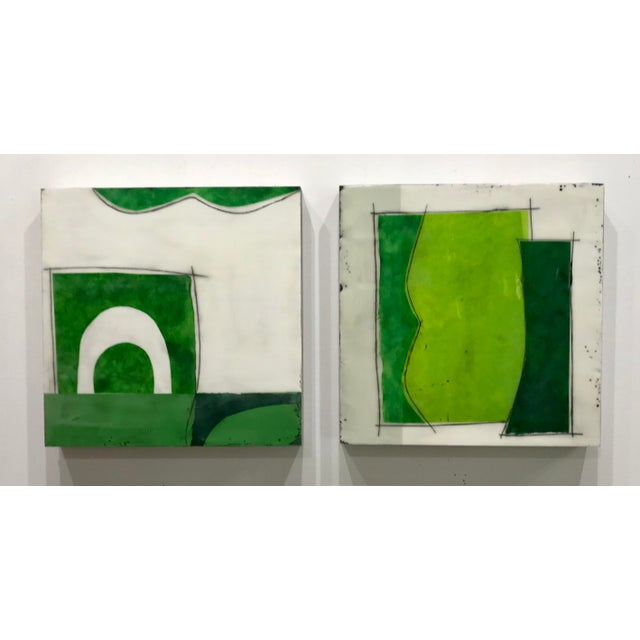 "Gina Cochran ""Perceptions No. 26"" Encaustic Collage Painting - Emerald & Peridot For Sale - Image 4 of 5"