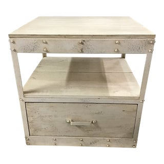 Industrial Style Alabaster-Colored Side Table For Sale