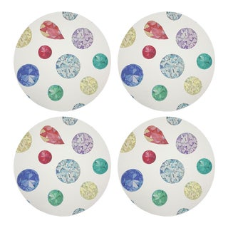"Jewel White, 16"" Round Pebble Placemats, Set of 4 For Sale"