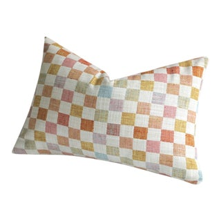 12x21 Patchwork Pillow Cover in Apricot & Pink For Sale