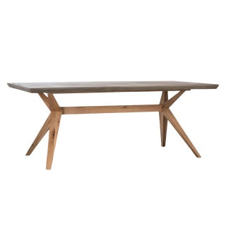 Outdoor Concrete & Oak Dining Table For Sale