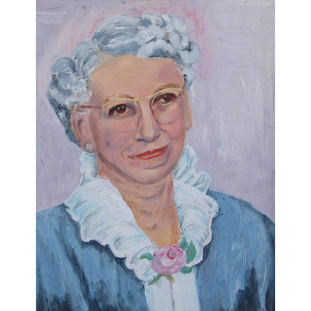 Mid-Century Oil Painting Portrait - Image 7 of 7