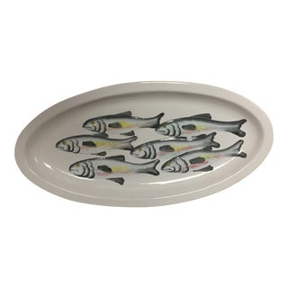 "Gigantic Italian Ceramic Oval Fish Design Serving Platter Italy 27"" For Sale"