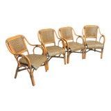 Image of Mid Century Rattan Basket Weave Arm Chairs- Set or 4 For Sale